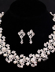 Women's Silver/Alloy Wedding/Party Jewelry Set With Rhinestone White Pearls For Bridal