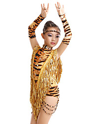 cheap -High-quality Milk Fiber with Tassels and Animal Print Latin Dance Dresses for Children's Performance (More Colors) Kids Dance Costumes