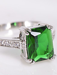 cheap -High Quality Fashion Platinum 10 KT Green Square Drill Zircon Ring