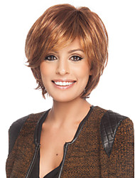 cheap -Human Hair Capless Wigs Human Hair Curly With Bangs Side Part Short Capless Wig Women's
