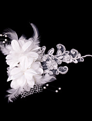 cheap -Crystal Fabric Satin Tiaras Flowers 1 Wedding Special Occasion Party / Evening Headpiece