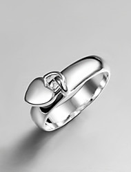 "cheap -2016 Fashion Luxury Drop ""Heart"" Square Sterling Silver Band Ring For Women"