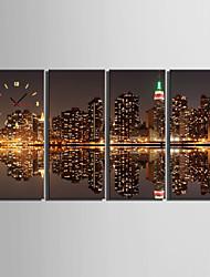 cheap -E-HOME® City Image Clock in Canvas 4pcs