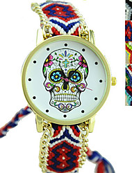 cheap -Women's Fashion Watch Wrist Watch Quartz Casual Watch Fabric Band Charm Skull Black / Multi-Colored - Green Blue Rainbow One Year Battery Life / Tianqiu 377