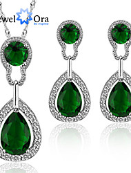 cheap -Women's Jewelry Set Cubic Zirconia Fashion Elegant Party Special Occasion Anniversary Birthday Gift Daily Platinum Gold Plated Earrings