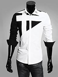 Masculino Camisa Casual / Escritório / Formal Color Block Manga Comprida Algodão Preto / Vermelho / Branco / Cinza