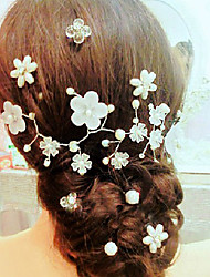 cheap -Imitation Pearl Alloy Flowers Hair Pin Head Chain Headpiece