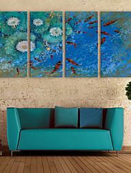 preiswerte -E-Home® Leinwand Kunst Koi im Teich Dekoration Malerei Set von 4