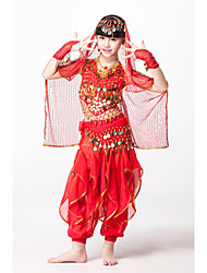 cheap -Belly Dance Outfits Children's Performance Chiffon/Sequined Beading/Coins/Sequins 5 Pieces Fuchsia/Gold/Red/turquoise Kids Dance Costumes