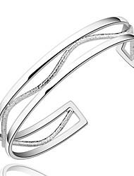abordables -Femme Charmes pour Bracelets Bracelets Rigides Cuivre Plaqué argent Simple Style Argent Bijoux 1pc