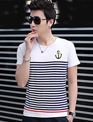 Masculino Camiseta Algodão / Misto de Algodão Estampado / Listrado Manga Curta Casual-Branco / Cinza