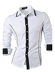 Langærmet Herre Ensfarvet Afslappet/Hverdag Skjorte,Bomuld
