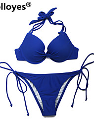 cheap -Colloyes Women Royal Blue Add-2-Cups Halter Top Set with Push-up Molded Cups Adjustable Halter Straps Bikinis Swimwear