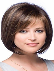 100% Human Hair Full Bangs BOBO Capless Hair Straight Wig