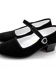 cheap -Women's Dance Shoes Old Peking Performance Suede Chunky Heel Black