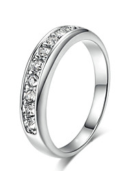 T&C Women's 18k White Gold Plated Top Class Small Pcs Rhinestones Studded Eternity Wedding Ring