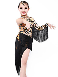 High-quality Milk Fiber with Tassels Latin Dance Dresses for Children's Performance/Training Kids Dance Costumes