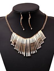 Dame Smykke Sæt Erklæring Halskæder Geometrisk form Imitation Diamond luksus smykker Europæisk Guld Hvid Smykker For Fest