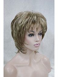 "New  Fluffy Wave Short 14"" Women's Wig Light Brown With Blonde Highlight Synthetic Hair Full Wig"