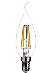 billige -1pc 400 lm E12 LED-glødetrådspærer CA35 4 LED Perler COB Dæmpbar / Dekorativ Varm hvid 110-130 V / RoHs
