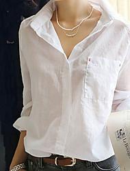 abordables -Mujer Algodón Camisa, Cuello Camisero Un Color