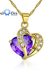 Недорогие -Фиолетовый Цирконий Сердце Золотистый Лиловый Ожерелье Бижутерия Назначение Свадьба Для вечеринок Особые случаи День рождения Подарок Повседневные