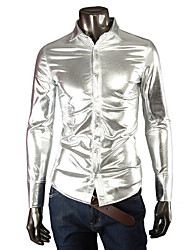 cheap -Men's Black/Gold/Silver Shirt,Cotton Blend/Elastic/Satin