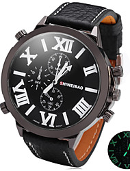 cheap -SHIWEIBAO Male Super Circular Quartz Watch With Night-Light Display Big Dial Watch Belt Cool Watch Unique Watch