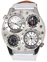 Oulm Pánské Vojenské hodinky Křemenný Hodinky s dvojitým časem Kůže Kapela Luxus Bílá