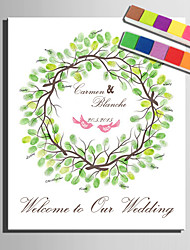 E-HOME® Personalized Fingerprint Painting Canvas Prints -Green Tree Ring (Includes 12 Ink Colors)