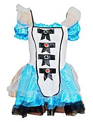 Alice in Wonderland Cosplay Kostumer Kvindelig Halloween Karneval Nytår Festival / Højtider Halloween Kostumer Hvid+Blå Patchwork