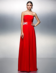 A-Line Strapless Floor Length Chiffon Prom Formal Evening Dress with Beading Appliques Sash / Ribbon Ruching Criss Cross by TS Couture®