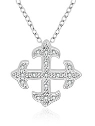 Cremation jewelry 925 Sterling Silver Fine Cross Pave Zircon Pendant Necklace for Women