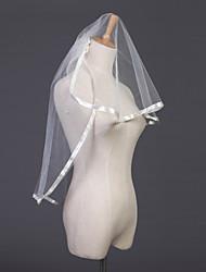 Недорогие -Свадебные вуали Два слоя Фата до локтя С лентой по краю 31.5 (80 см) Тюль Белый Цвет слоновой кости