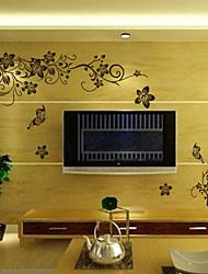 klasični crni cvijet vinove TV pozadina zid decal zooyoo027l dekorativne prijenosnih PVC zidne naljepnice