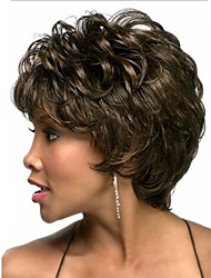 cheap -Europe And The United States With Middle-Aged And Old Short Wig Dark Brown Natural Curly Wig