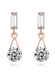 cheap -HKTC Clear Crystal Water Drop Earrings 18k Rose Gold Plated Simulated Diamond Bridal JewelryImitation Diamond Birthstone
