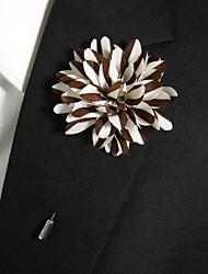 broche en soie marron et blanc occasionnels pour hommes style classique féminin