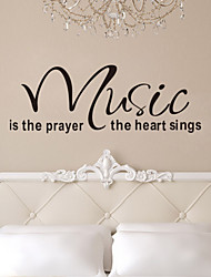 cheap -Quote Wall Decals Music Is The Prayer Heart Removable Vinyl Wall Stickers Home Decor ZY8197 Wall Art Decals