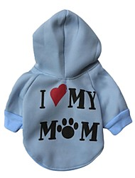 cheap -Cat Dog Hoodie Dog Clothes Casual/Daily Heart White Gray Blue Pink Costume For Pets