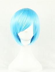 abordables -Pelucas sintéticas / Pelucas de Broma Recto Corte asimétrico Pelo sintético Entradas Naturales Azul Peluca Mujer Corta Sin Tapa