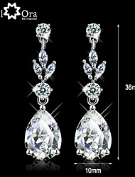 cheap -Wedding Vivid CZ Stone Rhodium Plated Jewelry Sparkling Lady Drop Earrings For Women