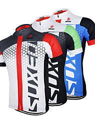 cheap -Arsuxeo Men's Short Sleeves Cycling Jersey - Black/Green Black/Blue White+Red Bike Jersey, Quick Dry, Anatomic Design, Breathable