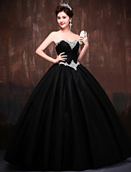 Ball Gown Princess Sweetheart Floor Length Polyester Lace Satin Tulle Formal Evening Dress with Crystal Detailing by Huaxirenjiao