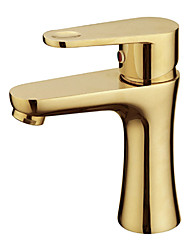 Warpeu® Gold Plated Single Handle Countertop Brass Basin Faucet Mixer