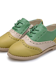 Girl's Flats Spring Fall Comfort Flower Girl Shoes Leatherette Casual Party & Evening Flat Heel Zipper Lace-up Split Joint Light Green