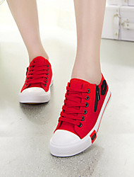 Women's Shoes Fabric Flat Heel Comfort/Round Toe Fashion Sneakers Casual Black/Blue/Red/White