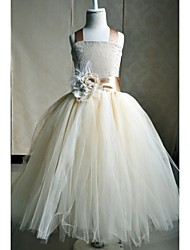 A-Line Ankle Length Flower Girl Dress - Silk Sleeveless Square Neck with Flower