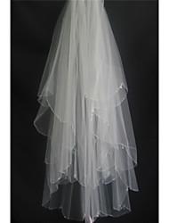 Duas Camadas Borda Enfeitada Véus de Noiva Véu Ponta dos Dedos Com Estilo de Critais Espalhados Pérola Tule