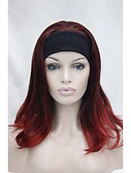 nuova moda 3/4 parrucca con fascia mix rosso lungo termine ondulato parrucca mezza M135 dritto